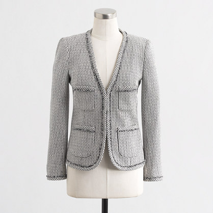Factory frayed tweed jacket