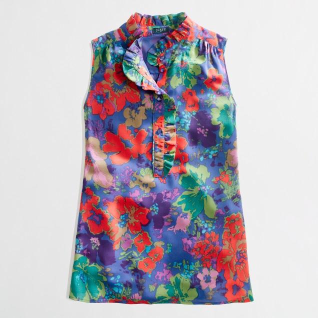 Factory printed ruffle collar top
