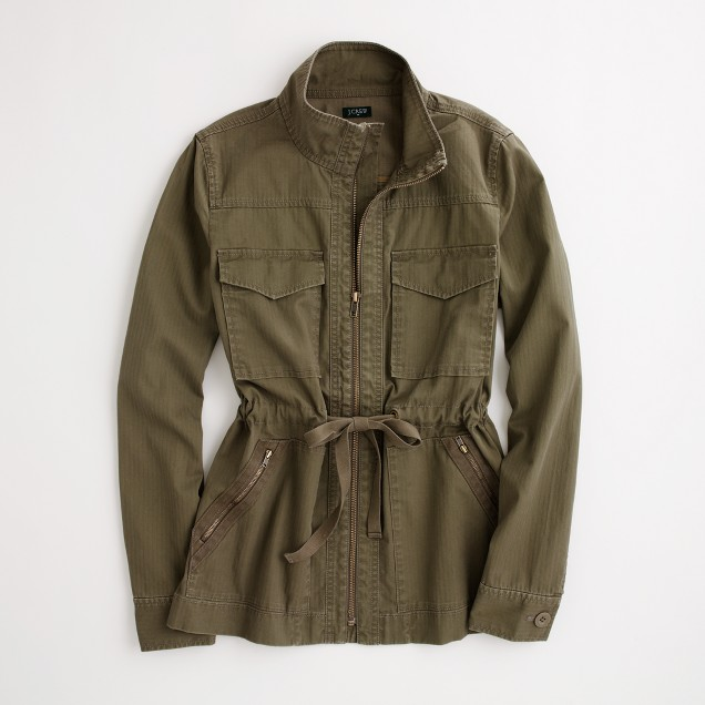 Factory washed cotton military jacket