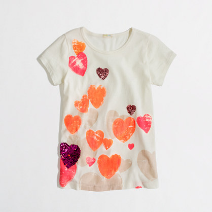 Factory girls' floating hearts keepsake tee