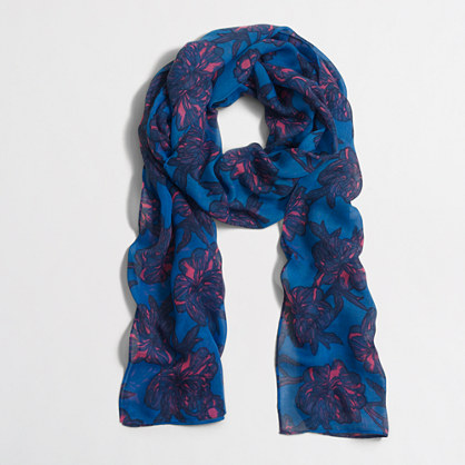 Factory printed long lightweight scarf