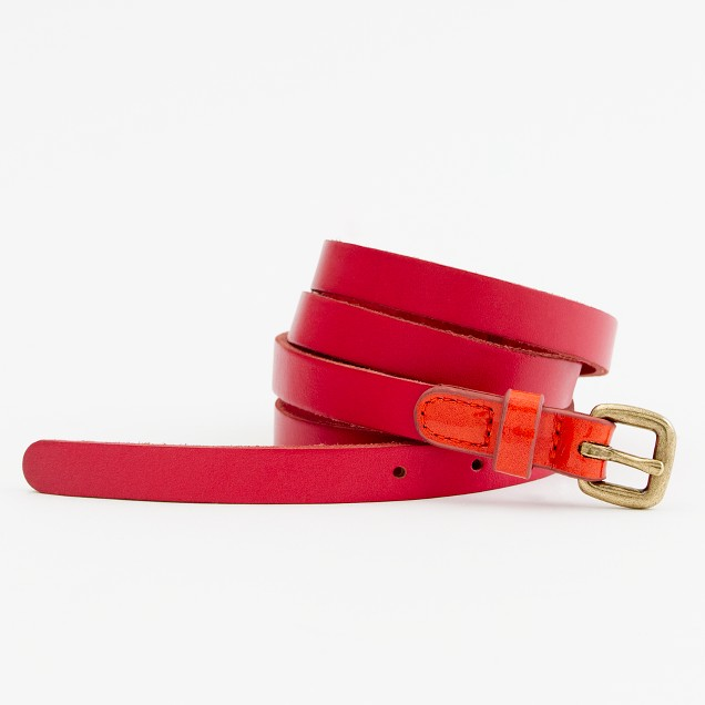 Factory patent tab skinny belt