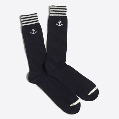 Stripe anchor socks