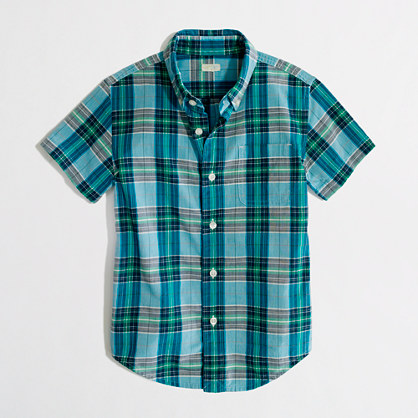 Factory boys' short-sleeve washed button-down shirt in summer ...