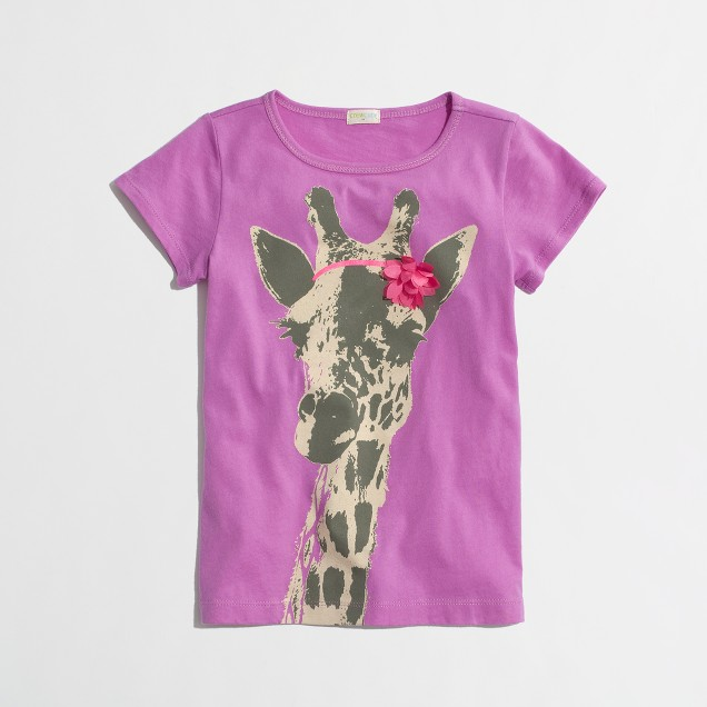 Factory girls' giraffe and blossom keepsake tee