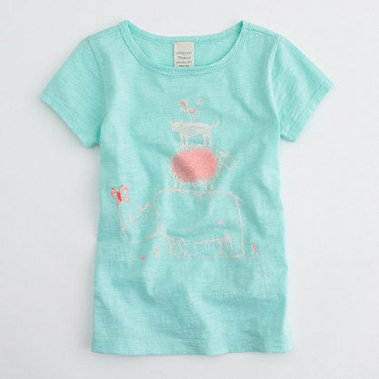 Factory girls' stacked animal keepsake tee