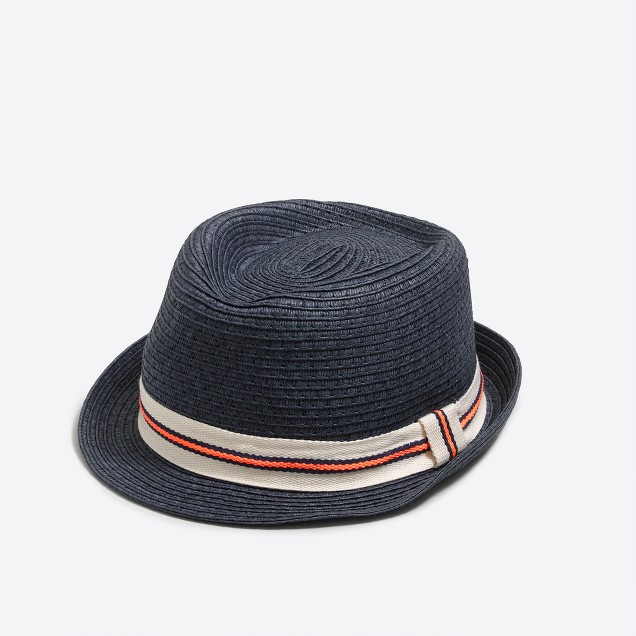 Kids' ribbon straw fedora