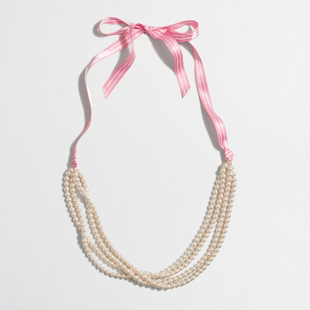 Girls' pearl and ribbon necklace