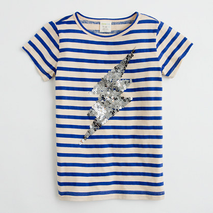 Factory girls' sequin lightning bolt keepsake tee