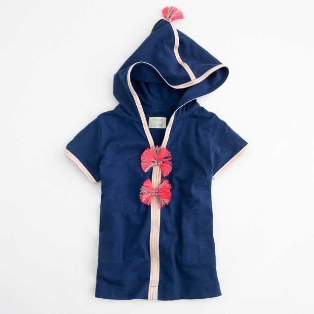 Factory girls' short-sleeve pom-pom hoodie