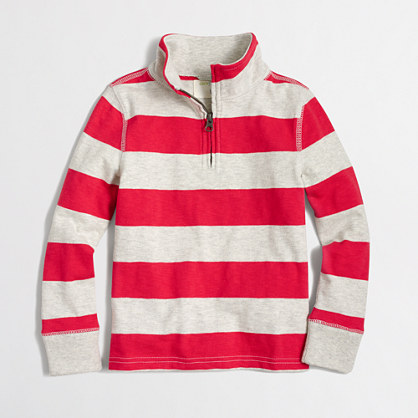 Boys' striped half-zip pullover