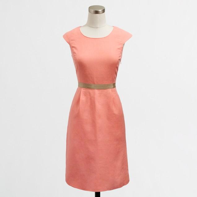 Factory ribbon-waist dress in lightweight linen