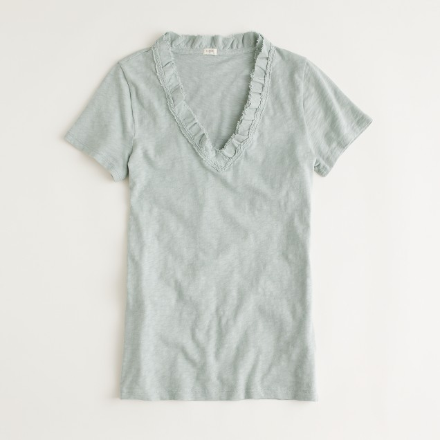 Factory frayed ruffle v-neck tee