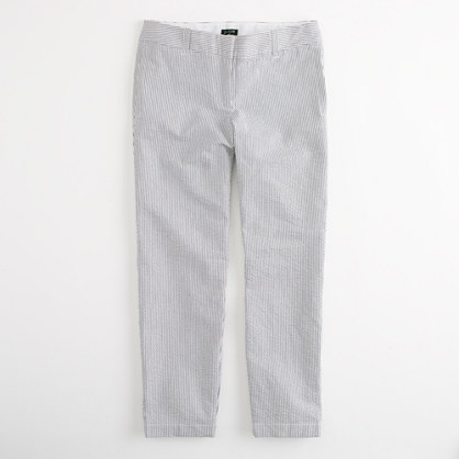 Factory cropped seersucker chino