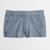 Factory railroad-stripe short