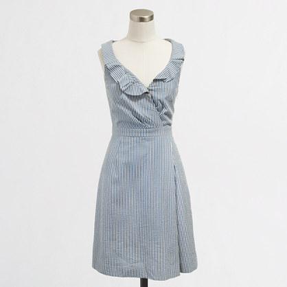 Factory seersucker ruffle V-neck dress