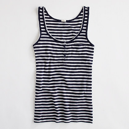 Factory stripe pocket henley tank