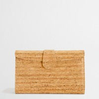 Factory cork envelope clutch