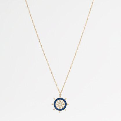 Factory ship wheel pendant necklace