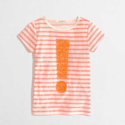 Factory girls' stripe sequin exclamation keepsake tee