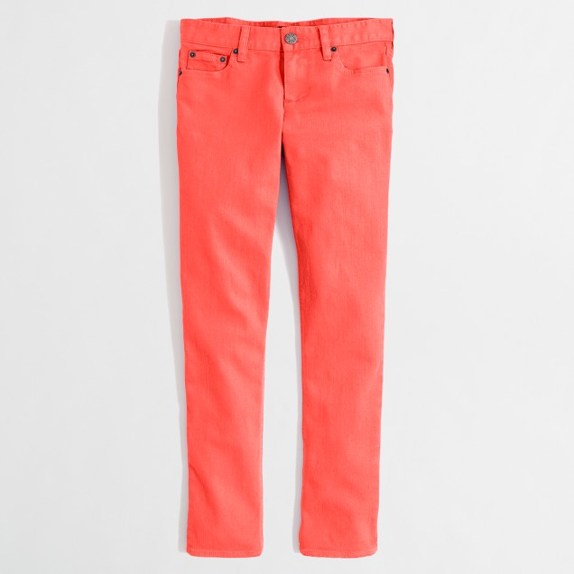Factory cropped straight and narrow jean in garment dye