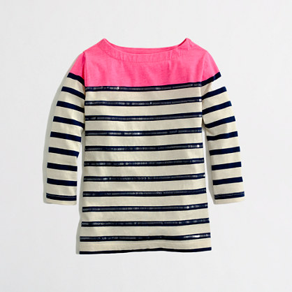 Factory girls' long-sleeve sequin-stripe colorblock tee