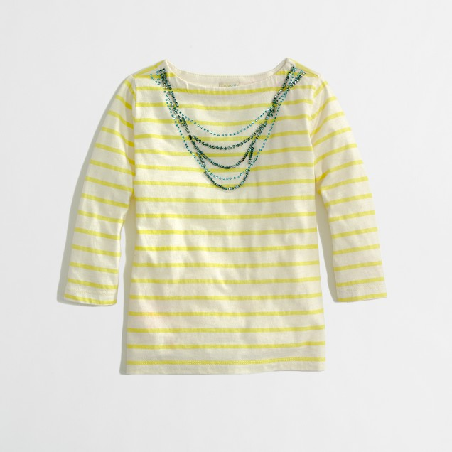 Factory girls' long-sleeve stripe jeweled necklace tee