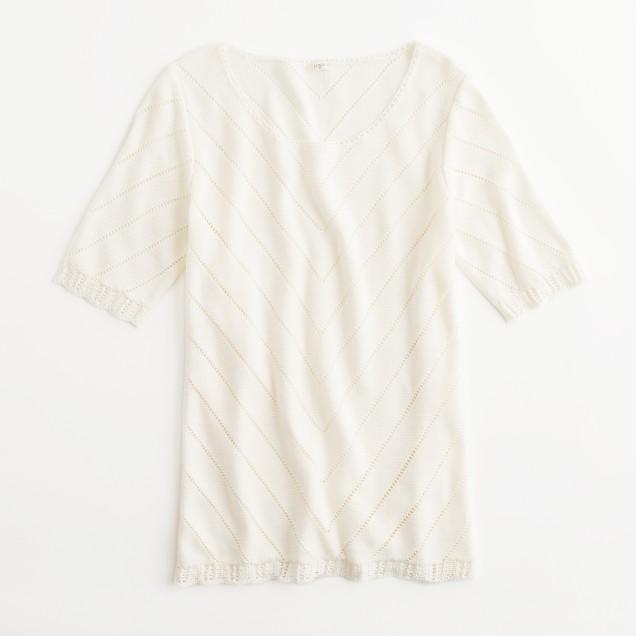 Factory chevron pointelle sweater