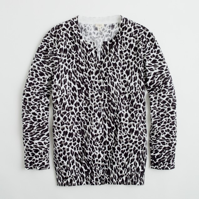 Factory classic cardigan in leopard