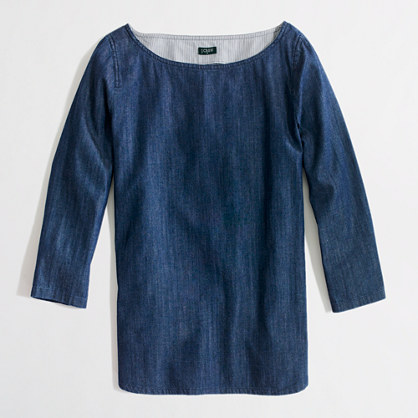 Factory chambray boatneck top