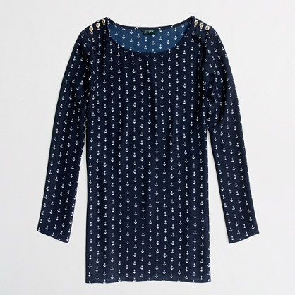 Factory printed scoopneck button blouse