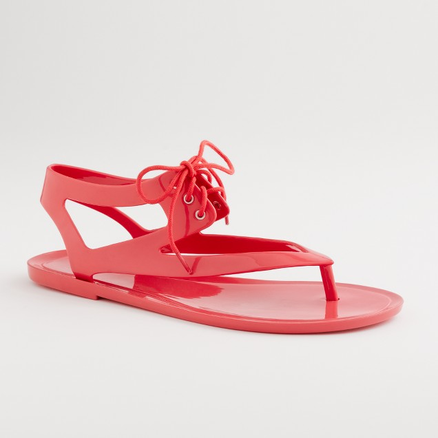 Factory jelly lace-up thong sandals