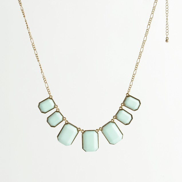 Factory emerald-cut stone necklace