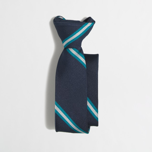 Boys' striped silk zipper tie
