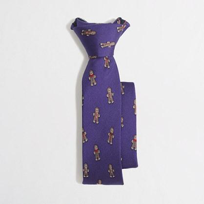 Factory boys' patterned silk zipper tie
