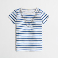 Factory girls' stripe jeweled necklace tee