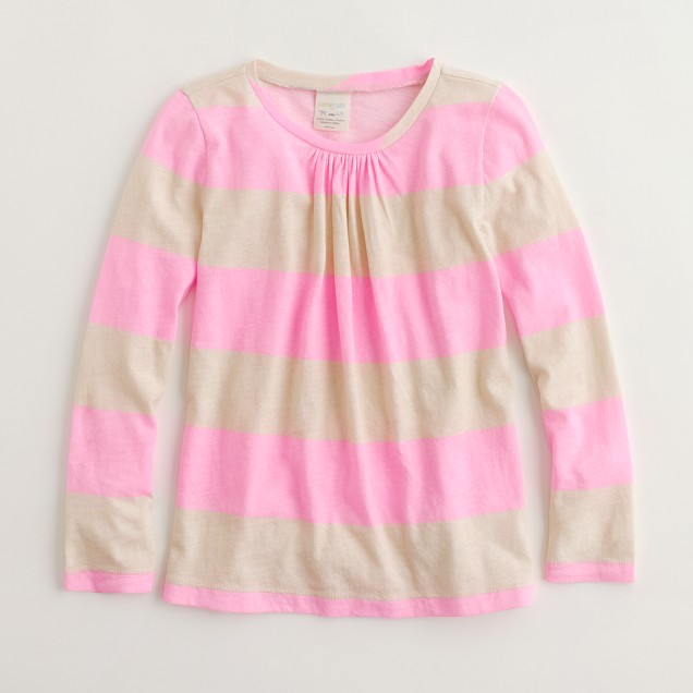 Factory girls' printed long-sleeve pleat-front tee