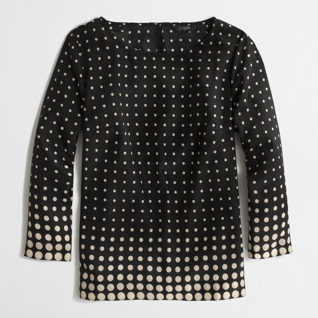 Factory printed scoopneck blouse