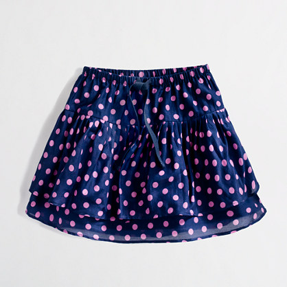 Factory girls' printed two-tier ruffle skirt
