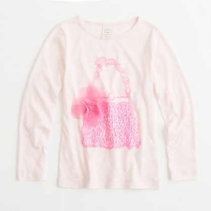 Factory girls' long-sleeve flower purse keepsake tee