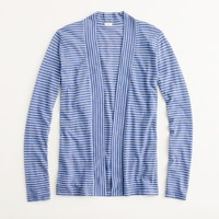 Factory thin-stripe shawl-front cardigan