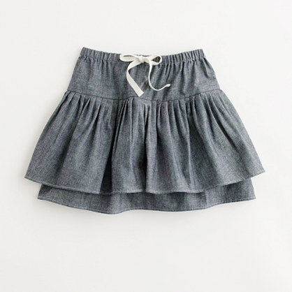 Factory girls' chambray two-tier ruffle skirt