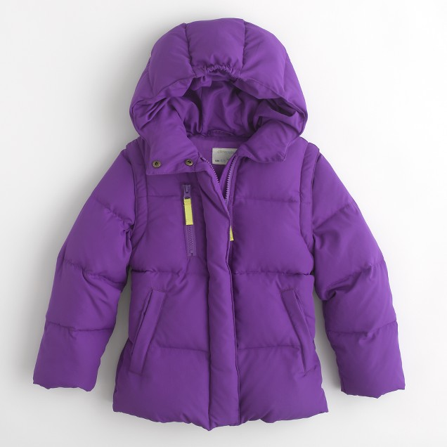 Factory girls' convertible puffer