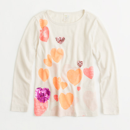 Factory girls' long-sleeve floating hearts keepsake tee