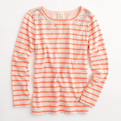 Factory girls' long-sleeve stripe sparkle tee