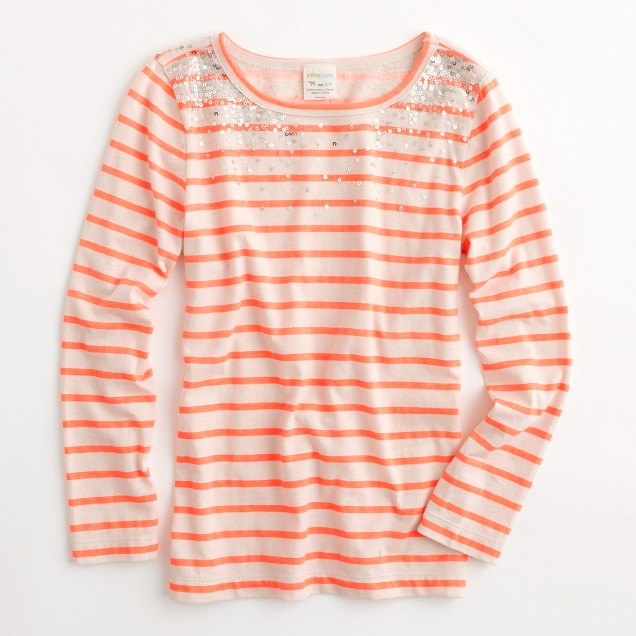 Factory girls' long-sleeve stripe sparkle tee