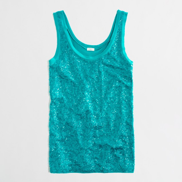 Factory square-sequin tank
