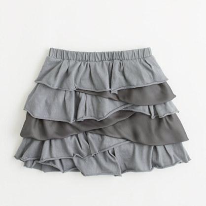 Factory girls' asymmetrical tiered-ruffle skirt