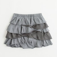 Factory girls' asymmetrical tiered-ruffle skirt