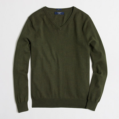 Tall slim cotton-cashmere V-neck sweater